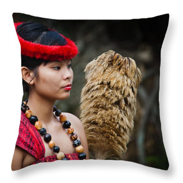 Polynesian Beauty Throw Pillow by Ralf Kaiser