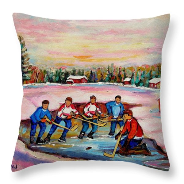 Pond Hockey Warm Day Throw Pillow by Carole Spandau