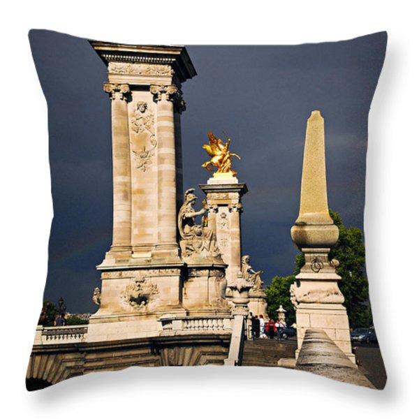 Pont Alexander III in Paris before storm Throw Pillow by Elena Elisseeva