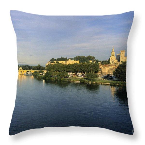 Pont d'Avignon et Palais des Papes. Throw Pillow by BERNARD JAUBERT