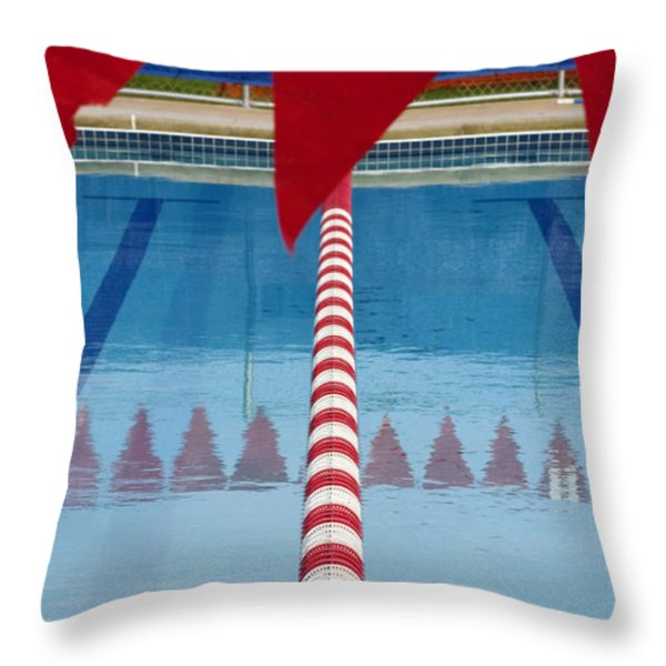 Pool Throw Pillow by Skip Hunt