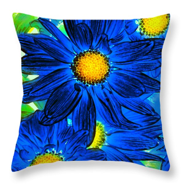 Pop Art Daisies 15 Throw Pillow by Amy Vangsgard