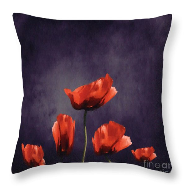 Poppies Fun 03b Throw Pillow by Variance Collections