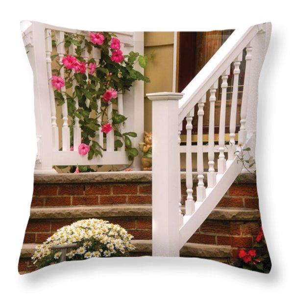 Porch - Garwood Nj - Suburban Paradise Throw Pillow by Mike Savad