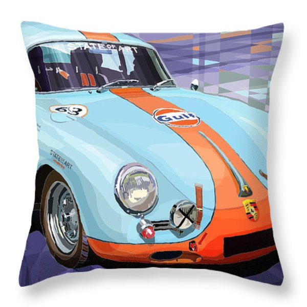 Porsche 356 Gulf Throw Pillow by Yuriy  Shevchuk