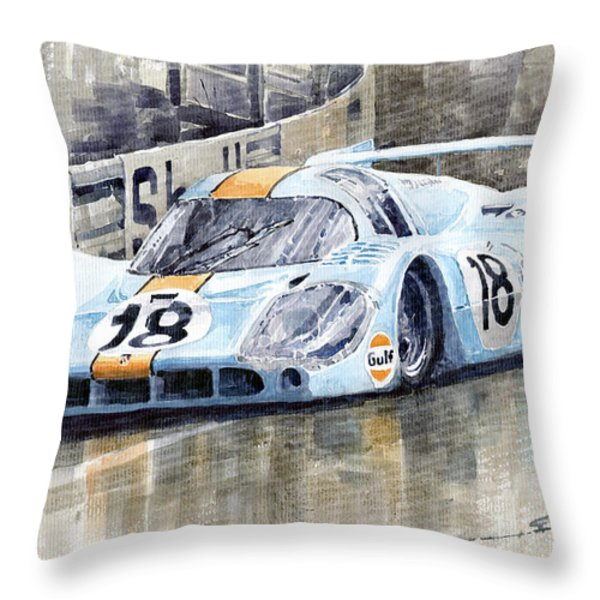 Porsche 917 Lh 24 Le Mans 1971 Rodriguez Oliver Throw Pillow by Yuriy  Shevchuk