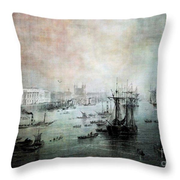 Port Of London - Circa 1840 Throw Pillow by Lianne Schneider