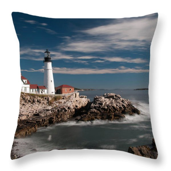 Portland Head Light 19482c Throw Pillow by Guy Whiteley