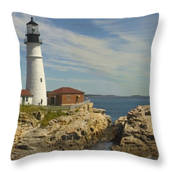 Portland Head Light Panorama  Throw Pillow by Mike McGlothlen
