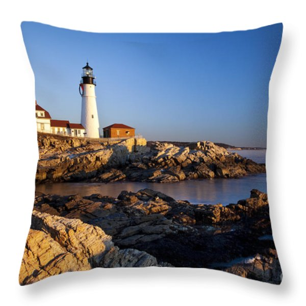Portland Head Lighthouse Throw Pillow by Brian Jannsen