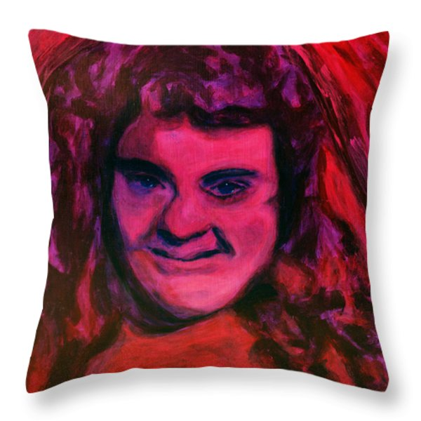 Portrait of Jenny Friedman who never gave up. figure portrait in pink purple and blue Downs Syndrome Throw Pillow by MendyZ M Zimmerman