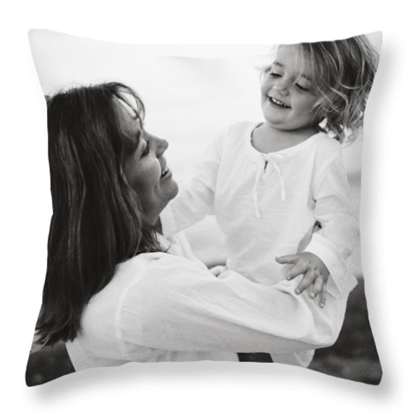 Portrait Of Mother And Daughter Throw Pillow by Michelle Quance