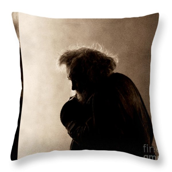 Portrait Of The Homeless Throw Pillow by Sheila Smart