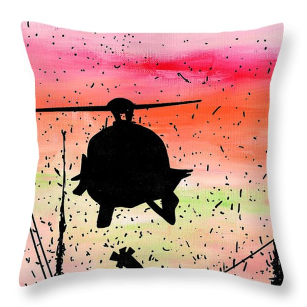 Post Apocalyptic Helicopter Skyline Throw Pillow by Jera Sky