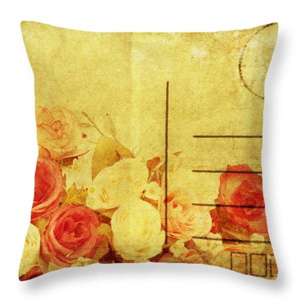 postcard with floral pattern Throw Pillow by Setsiri Silapasuwanchai