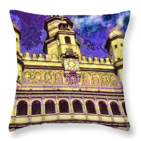 Poznan City Hall Throw Pillow by Mo T
