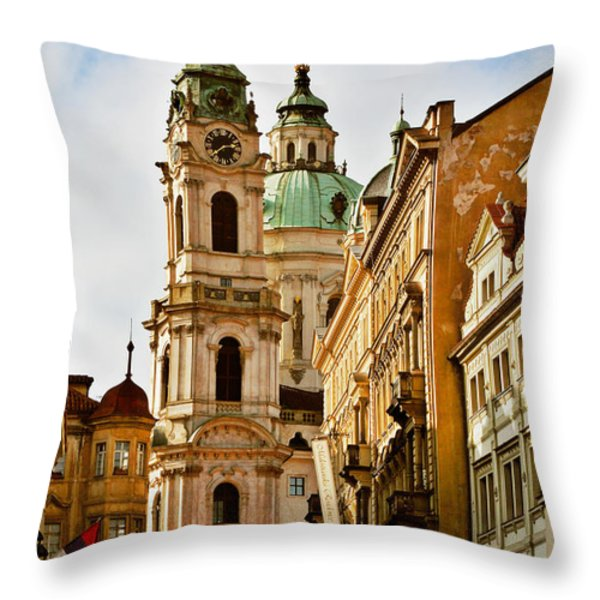 Prague - St. Nicholas Church Lesser Town Throw Pillow by Christine Till