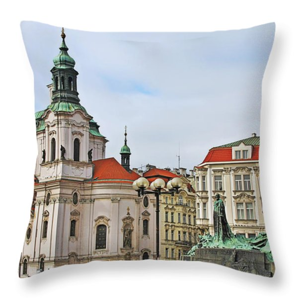 Prague - St Nicholas Church Old Town Square Throw Pillow by Christine Till