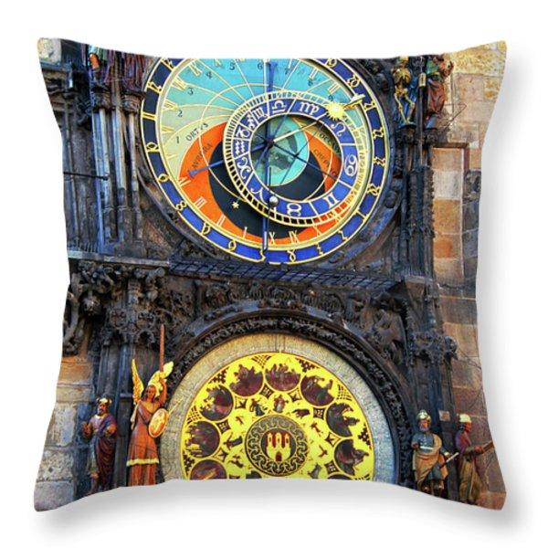 Prague Astronomical Clock 2 Throw Pillow by Mariola Bitner