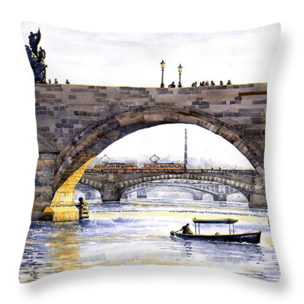Prague Bridges Throw Pillow by Yuriy  Shevchuk
