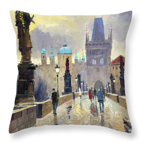 Prague Charles Bridge 02 Throw Pillow by Yuriy  Shevchuk
