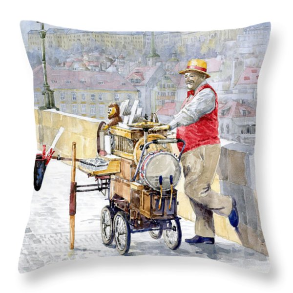 Prague Charles Bridge Organ Grinder-Seller Happiness  Throw Pillow by Yuriy  Shevchuk
