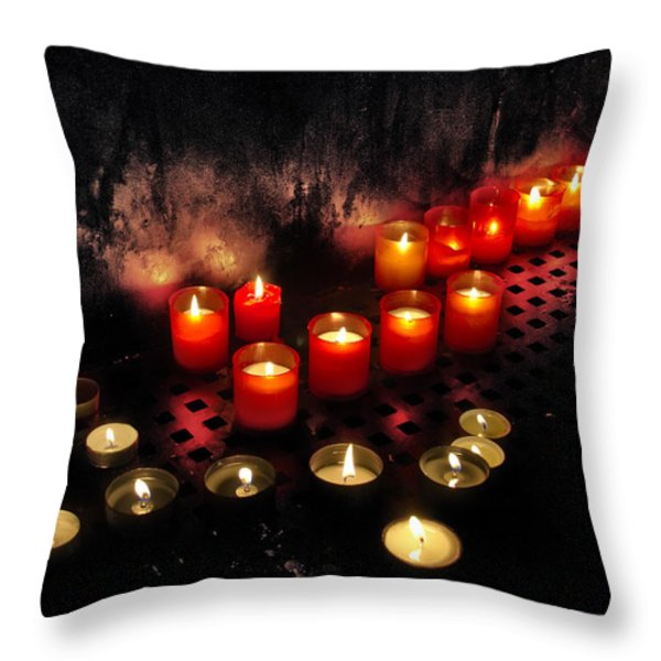 prague church candles Throw Pillow by Stylianos Kleanthous