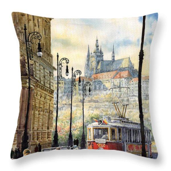 Prague Kaprova Street Throw Pillow by Yuriy  Shevchuk