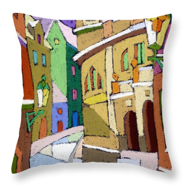 Prague Old Street Karlova Winter Throw Pillow by Yuriy  Shevchuk