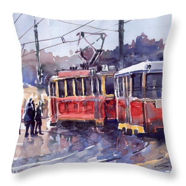 Prague Old Tram 01 Throw Pillow by Yuriy  Shevchuk
