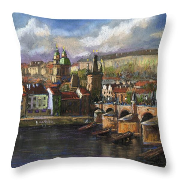Prague Panorama Charles Bridge Prague Castle Throw Pillow by Yuriy  Shevchuk