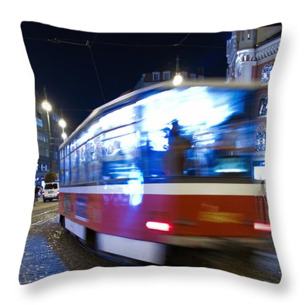 Prague tram Throw Pillow by Stylianos Kleanthous