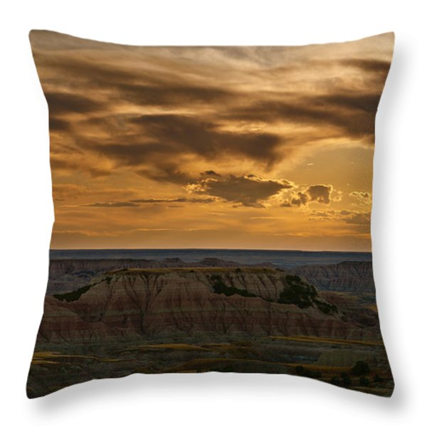 Prairie Wind Overlook Badlands South Dakota Throw Pillow by Steve Gadomski