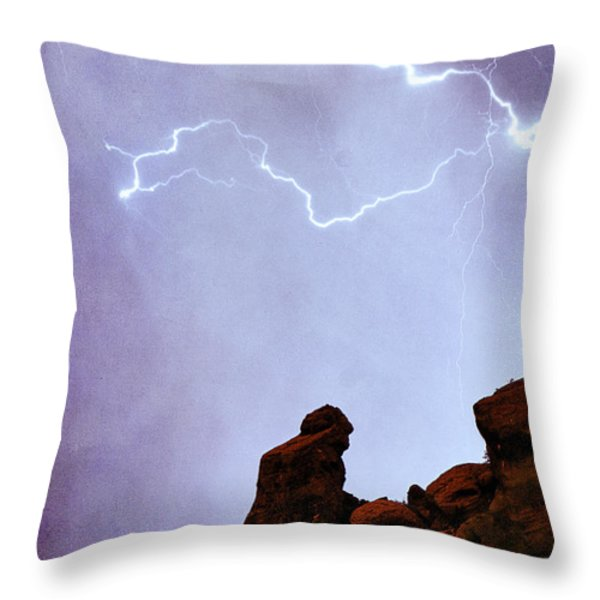 Praying Monk Camelback Mountain Paradise Valley Lightning  Storm Throw Pillow by James BO  Insogna