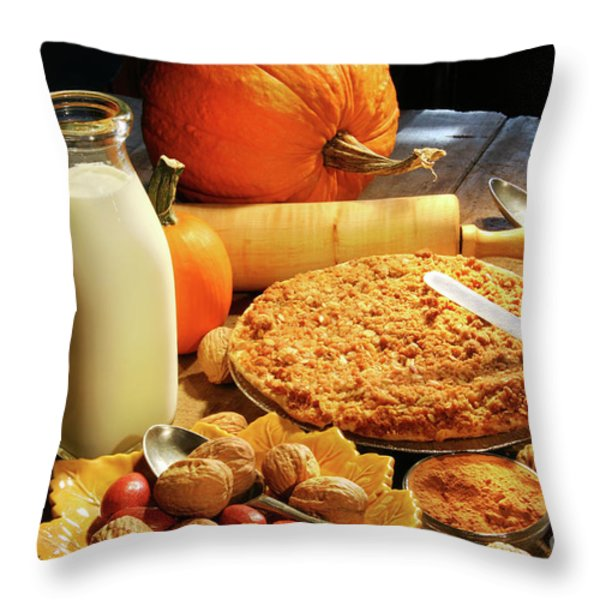 Preparing For Holiday Desserts Throw Pillow by Sandra Cunningham