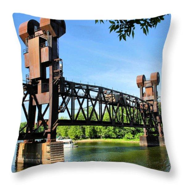 Prescott Lift Bridge Throw Pillow by Kristin Elmquist