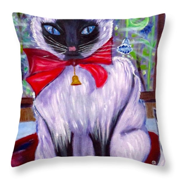 Pretty Fat Cat Throw Pillow by Phyllis Kaltenbach