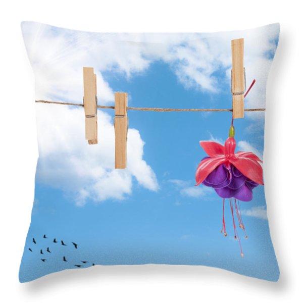 Pretty Fuchsia Head  Throw Pillow by Amanda And Christopher Elwell