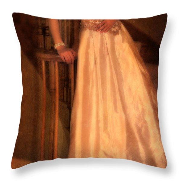Princess On Stairway Throw Pillow by Jill Battaglia