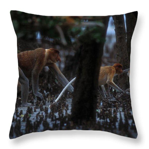 Proboscis Monkeys Travel Over Mangrove Throw Pillow by Tim Laman