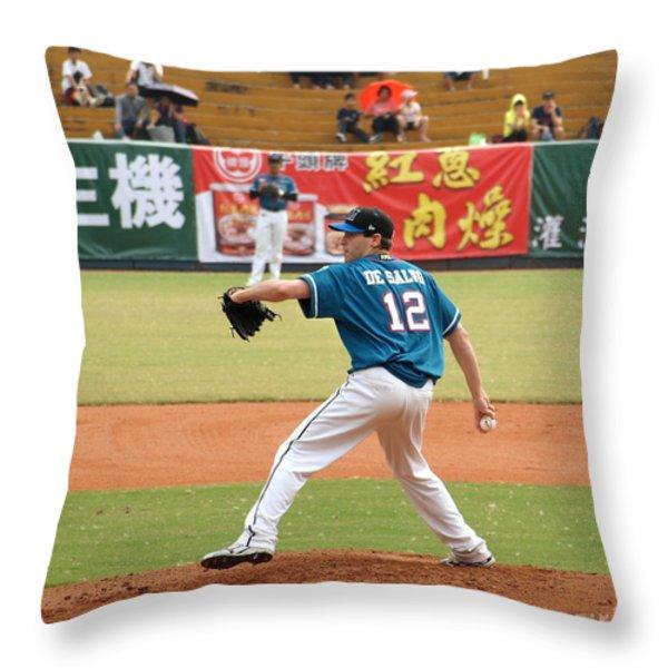 Professional Baseball Game In Taiwan Throw Pillow by Yali Shi
