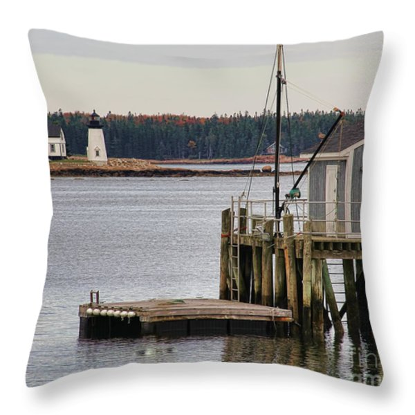 Prospect Harbor Lighthouse Throw Pillow by Jack Schultz