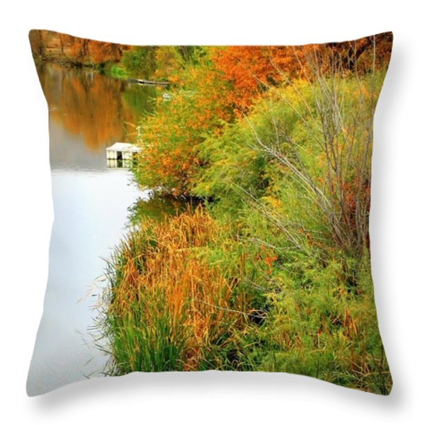 Prosser Autumn Docks Throw Pillow by Carol Groenen