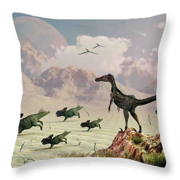 Protoceratops Stampede In Fear Throw Pillow by Mark Stevenson