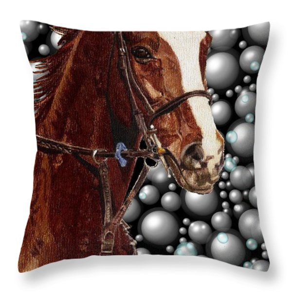 Proud With Bubbles Throw Pillow by Patricia Barmatz