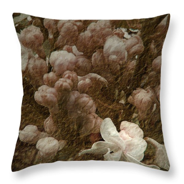 Pruning Lilacs Throw Pillow by Lianne Schneider