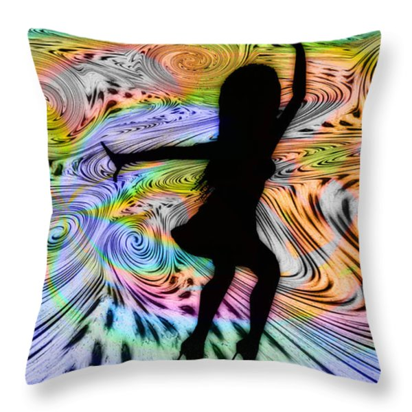 Psychedelic Dancer Throw Pillow by Bill Cannon
