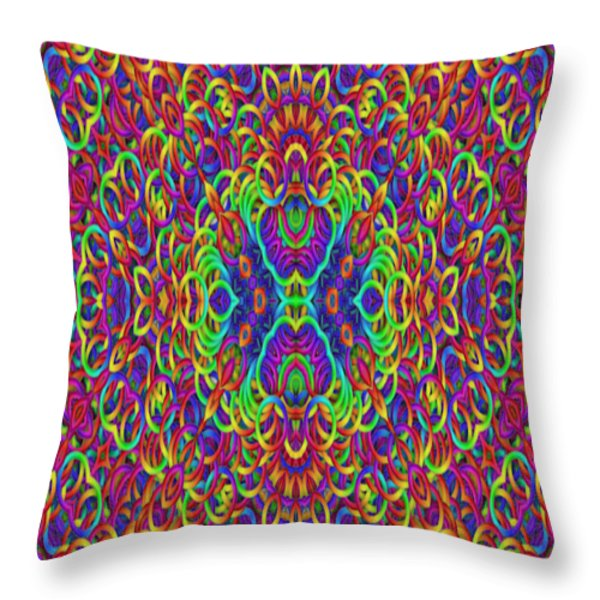 Psychedelic Kaleidoscope Throw Pillow by Gina Lee Manley