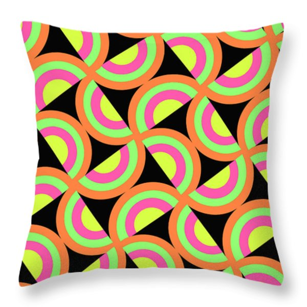 Psychedelic Squares Throw Pillow by Louisa Knight