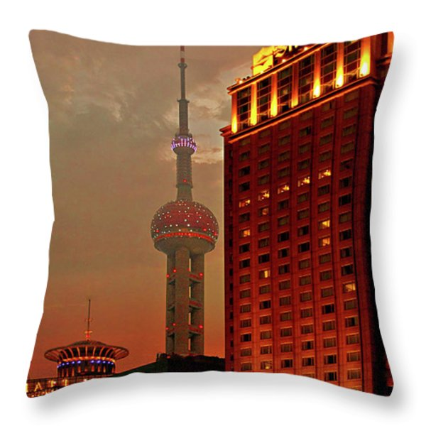 Pudong Shanghai - First City of the 21st Century Throw Pillow by Christine Till